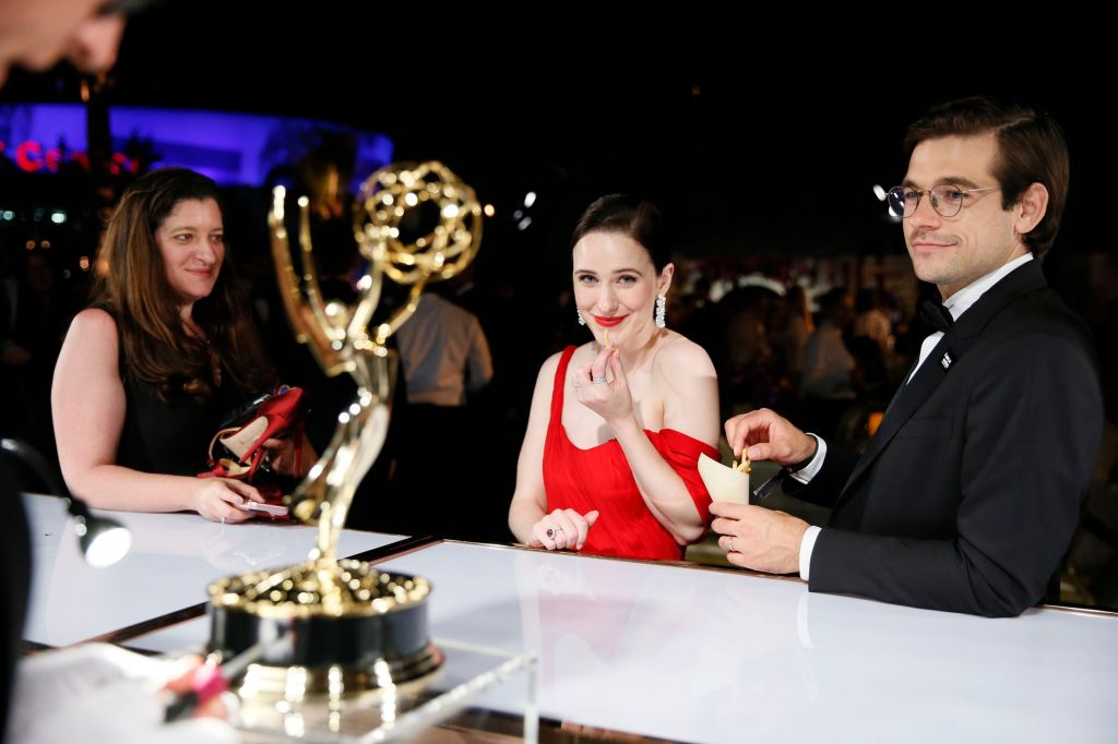 """Rachel Brosnahan, Jason Ralph. Rachel Brosnahan, winner of the award for outstanding lead actress in a comedy series for """"The Marvelous Mrs. Maisel"""", left, and Jason Ralph at the Governors Ball Winners Circle at the 70th Primetime Emmy Awards, at the Microsoft Theater in Los Angeles 70th Primetime Emmy Awards - Governors Ball Winners Circle, Los Angeles, USA - 17 Sep 2018"""
