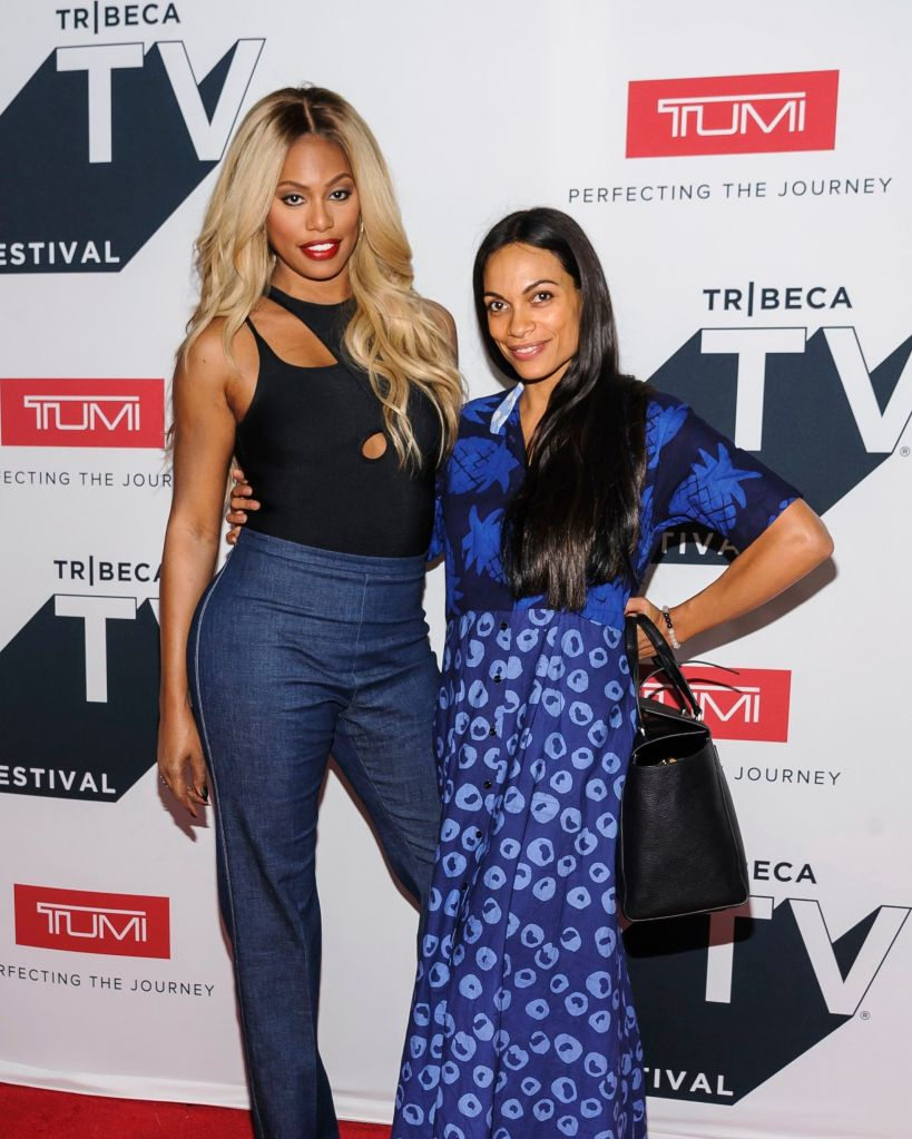 Laverne Cox, Rosario Dawson. Laverne Cox, left, and Rosario Dawson arrive at Tribeca Talks: The Journey, Inspired by TUMI, with Rosario Dawson during the Tribeca TV Festival at Spring Studios, in New York 2018 Tribeca TV Festival - Tribeca Talks: A Conversation with Bryan Cranston, New York, USA - 22 Sep 2018