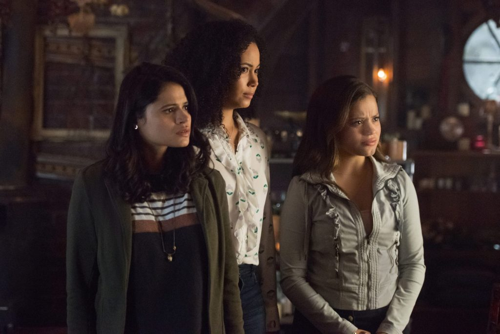 """Charmed -- """"Let This Mother Out"""" -- Image Number: CMD102a_0011.jpg -- Pictured (L-R): Melonie Diaz as Mel, Madeleine Mantock as Macy and Sarah Jeffery as Maggie -- Photo: Dean Buscher/The CW -- © 2018 The CW Network, LLC. All Rights Reserved."""