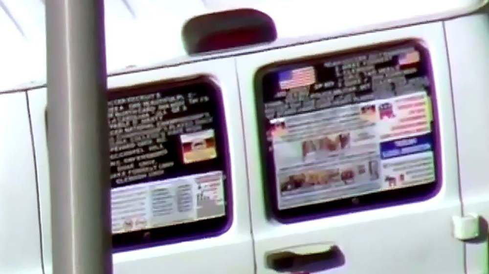This frame grab from video provided by WPLG-TV shows a van parked in Plantation, Fla.,, that federal agents and police officers have been examining in connection with package bombs that were sent to high-profile critics of President Donald Trump. The van has several stickers on the windows, including American flags, decals with logos and textExplosive Devices, Plantation, USA - 26 Oct 2018