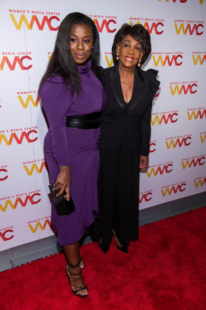 Uzo Aduba, Maxine Waters. Uzo Aduba, left, and Maxine Waters attend the 2018 Women's Media Awards, hosted by the Women's Media Center, at Capitale, in New York 2018 Women's Media Awards, New York, USA - 01 Nov 2018