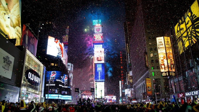 People celebrate the New Year at