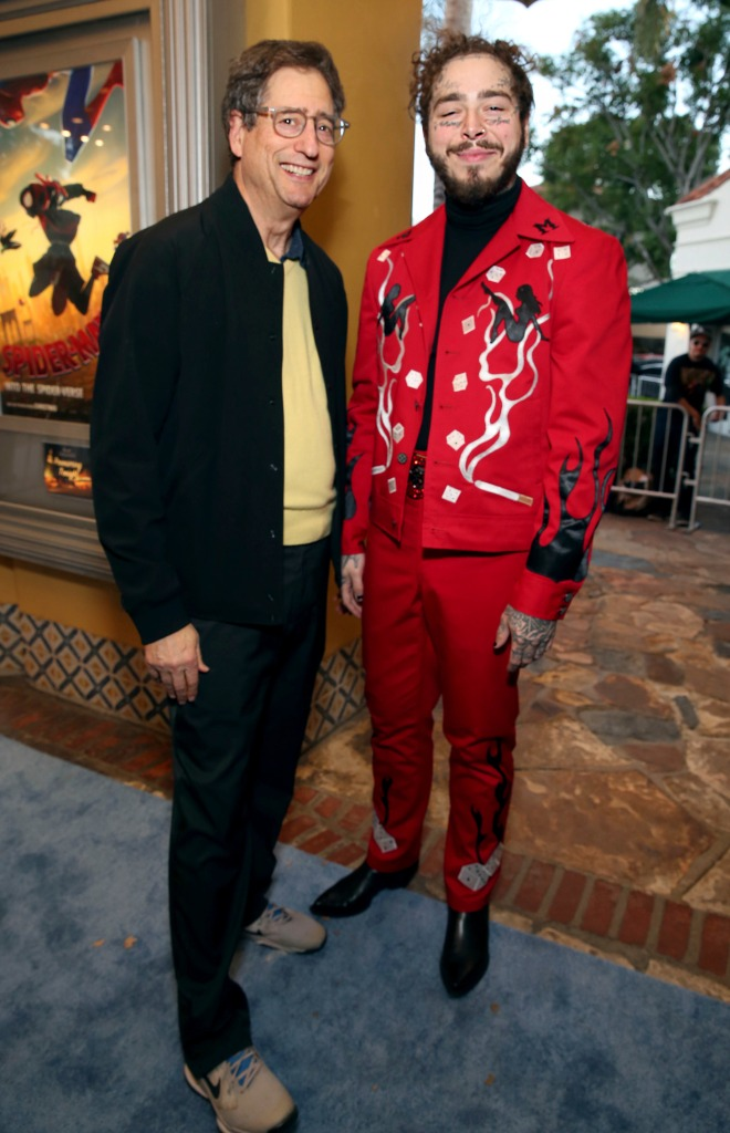"""Tom Rothman, Post Malone. Tom Rothman, Chairman, Sony Pictures Entertainment Motion Picture Group, and Post Malone during the Red Carpet Premiere of Columbia Pictures and Sony Pictures Animation's """"Spider-Man: Into the Spider-Verse"""" at Regency Village Theatre, in Los Angeles Premiere of Columbia Pictures and Sony Pictures Animation's """"Spider-Man: Into the Spider-Verse"""", Los Angeles, USA - 01 Dec 2018"""