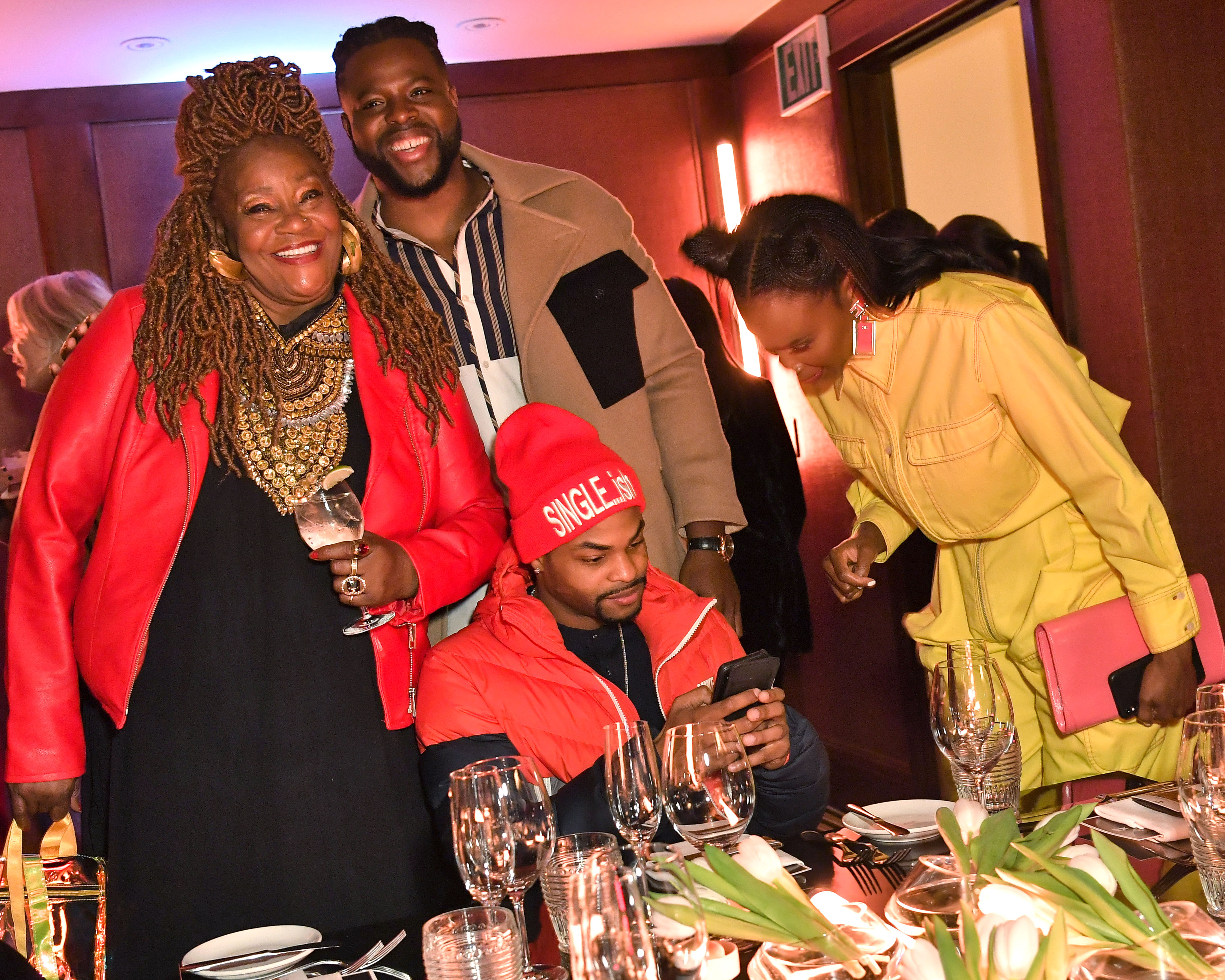 Cora Pantin, Winston Duke, King Bach and Sydelle NoelMCM x GQ celebrate Winston Duke at The Restaurant at Montage Beverly Hills, Los Angeles, USA - 19 Dec 2018