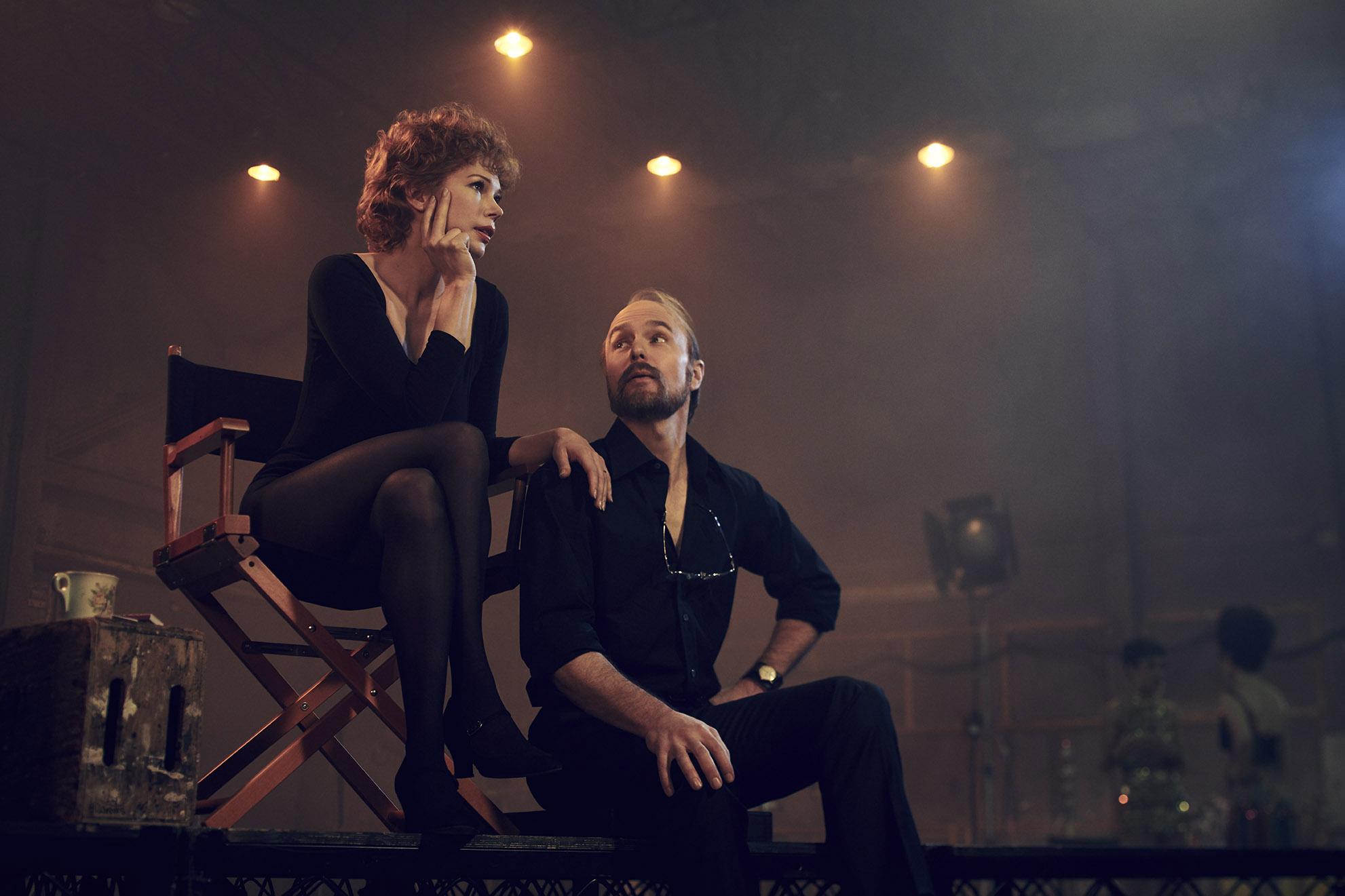 FOSSE VERDON -- Pictured: (l-r) Michelle Williams as Gwen Verdon, Sam Rockwell as Bob Fosse. CR: Pari Dukovic/FX