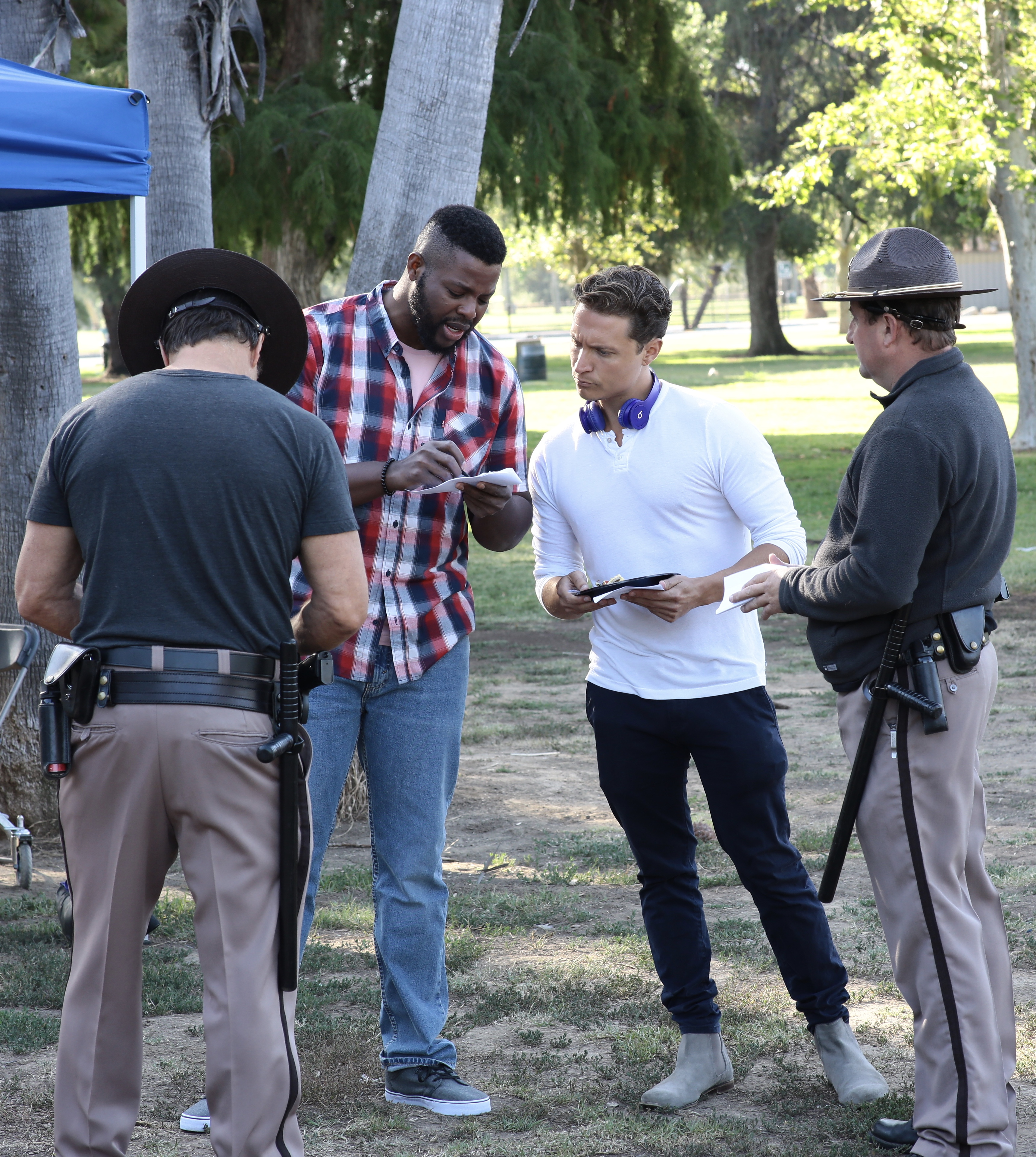 Winston Duke on set in Los Angeles.