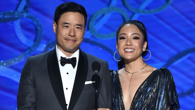 Randall Park, left, and Constance Wu