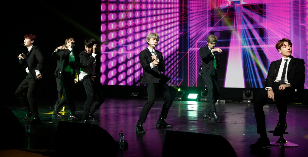 South Korean pop group BTS performs during a Korean cultural event to which attend South Korean President Moon Jae-in and his wife Kim Jung-sook in Paris, France, 14 October 2018. President Moon Jae-in is on a three-day official state visit to France. South Korean President's State Visit in France, Paris - 14 Oct 2018