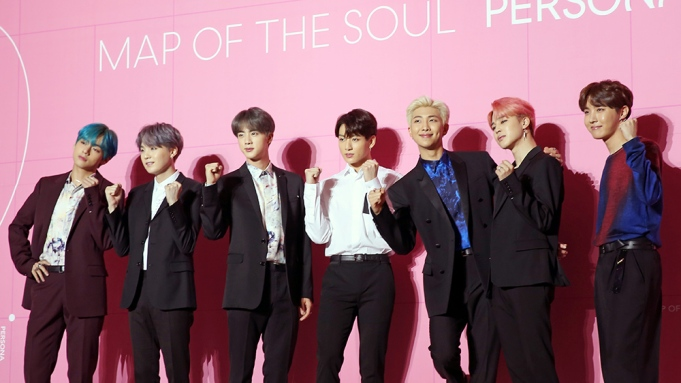 K-pop group BTS pose for photos