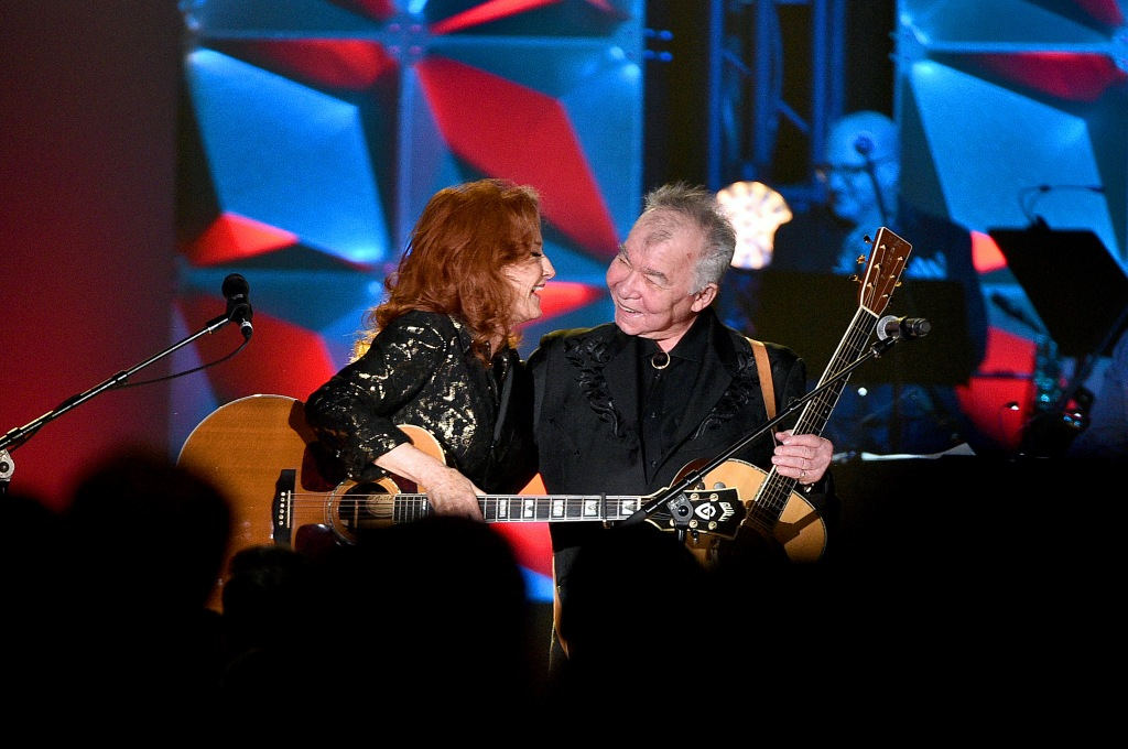 NEW YORK, NEW YORK - JUNE 13: Bonnie Raitt and Inductee John Prine perform onstage during the Songwriters Hall Of Fame 50th Annual Induction And Awards Dinner at The New York Marriott Marquis on June 13, 2019 in New York City. (Photo by Theo Wargo/Getty Images for Songwriters Hall Of Fame )