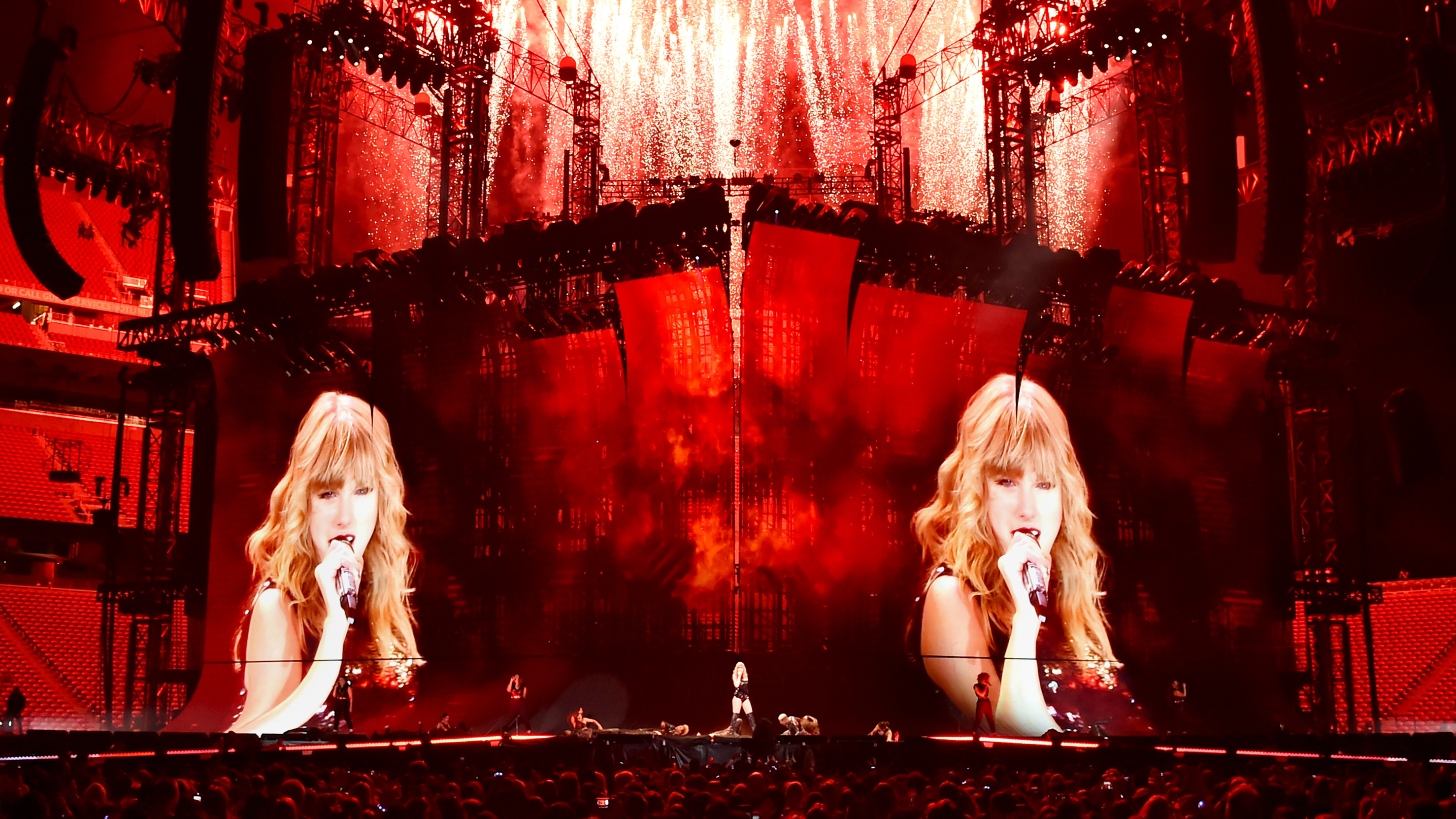 performs onstage during Taylor Swift's 2018 reputation Stadium Tour at Levi's Stadium on May 11, 2018 in Santa Clara, California.