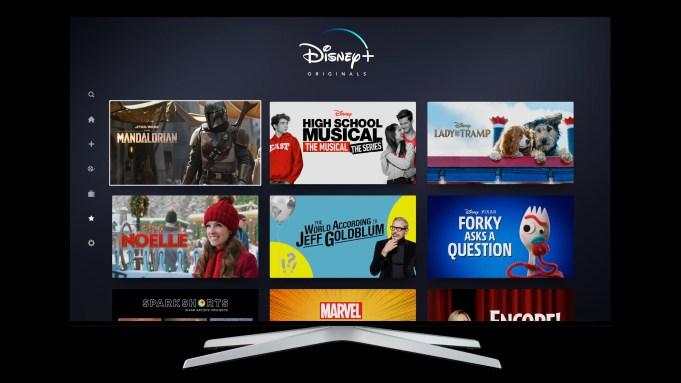 Disney Plus user interface home screen