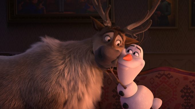 Trusted reindeer Sven and curious snowman