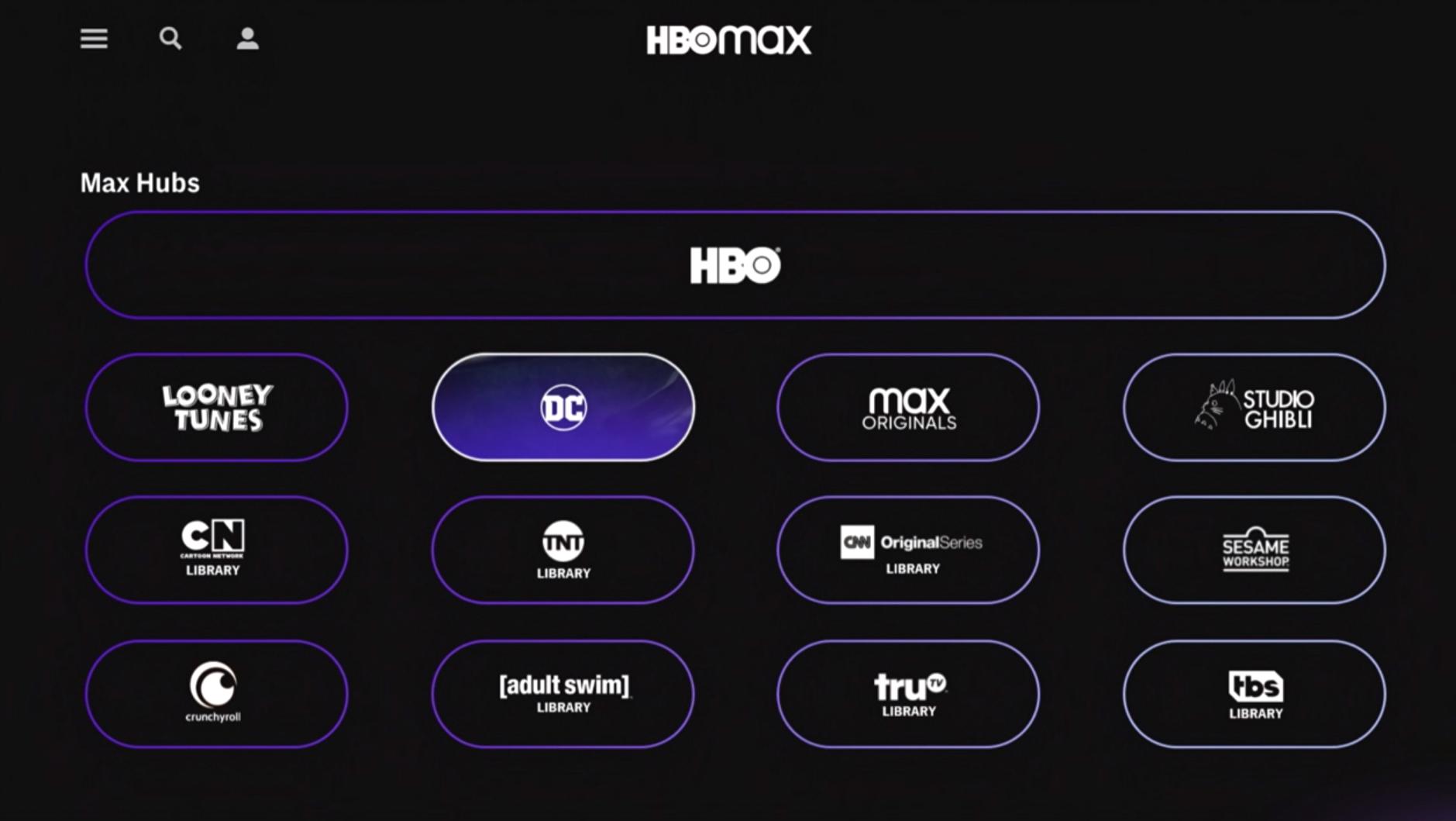 HBO Max hubs