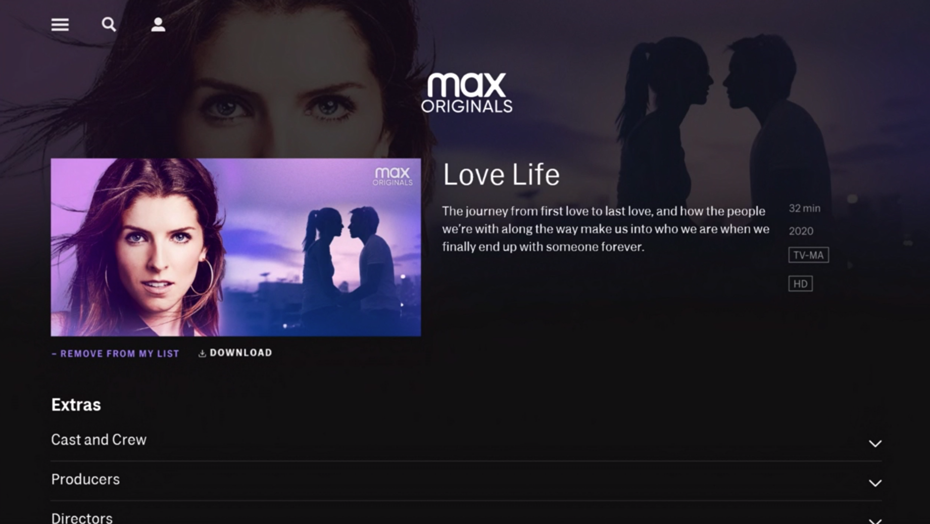HBO Max show page