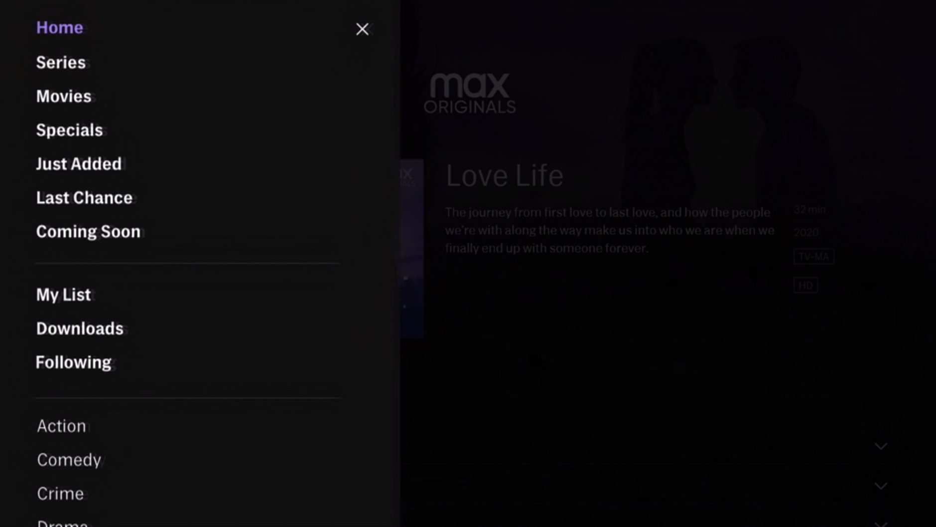 HBO Max sidebar