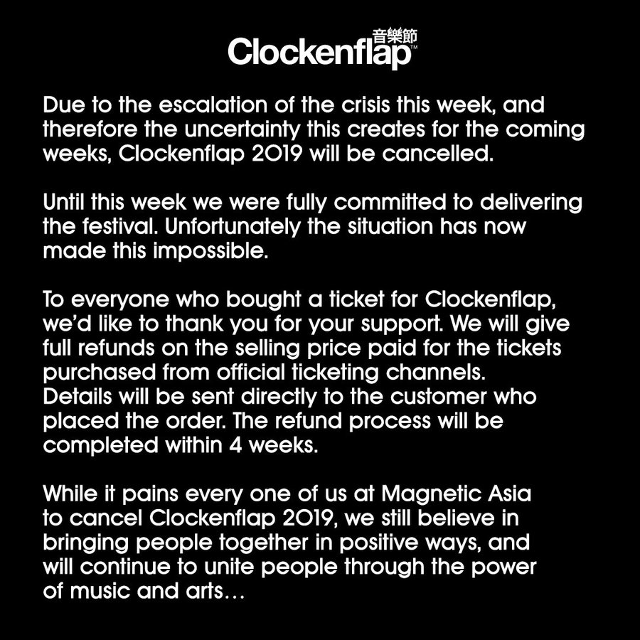 Clockenflap cancellation notice