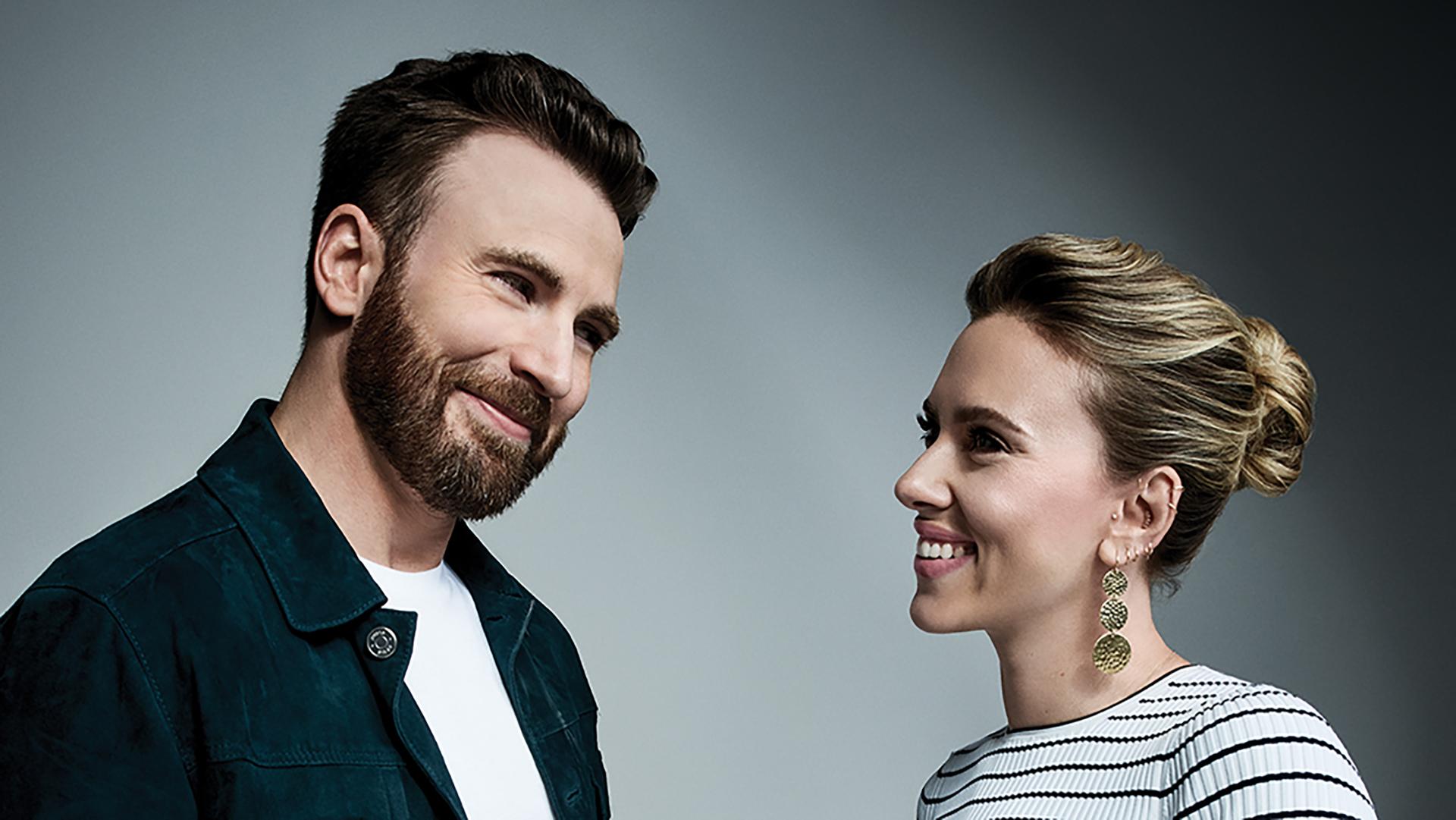 Chris Evans and Scarlett Johansson,