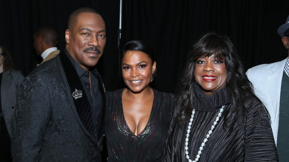 LOS ANGELES, CALIFORNIA - DECEMBER 02: (L-R) Eddie Murphy, Nia Long, and Chaz Ebert attend the Celebration of Black Cinema at Landmark Annex on December 02, 2019 in Los Angeles, California. (Photo by Randy Shropshire/Getty Images for the Celebration of Black Cinema)