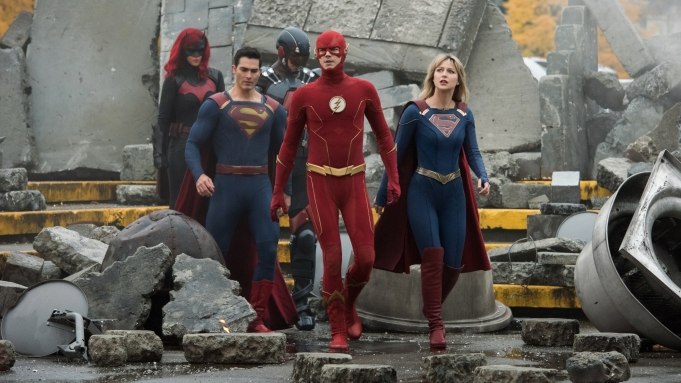 """Supergirl -- """"Crisis on Infinite Earths: Part One"""" -- Image Number: SPG509c_0093r.jpg -- Pictured (L-R): Ruby Rose as Kate Kane/Batwoman, Tyler Hoechlin as Clark Kent/Superman, Brandon Routh as Ray Palmer/Atom, Grant Gustin as The Flash and Melissa Benoist as Kara/Supergirl -- Photo: Dean Buscher/The CW -- © 2019 The CW Network, LLC. All Rights Reserved."""
