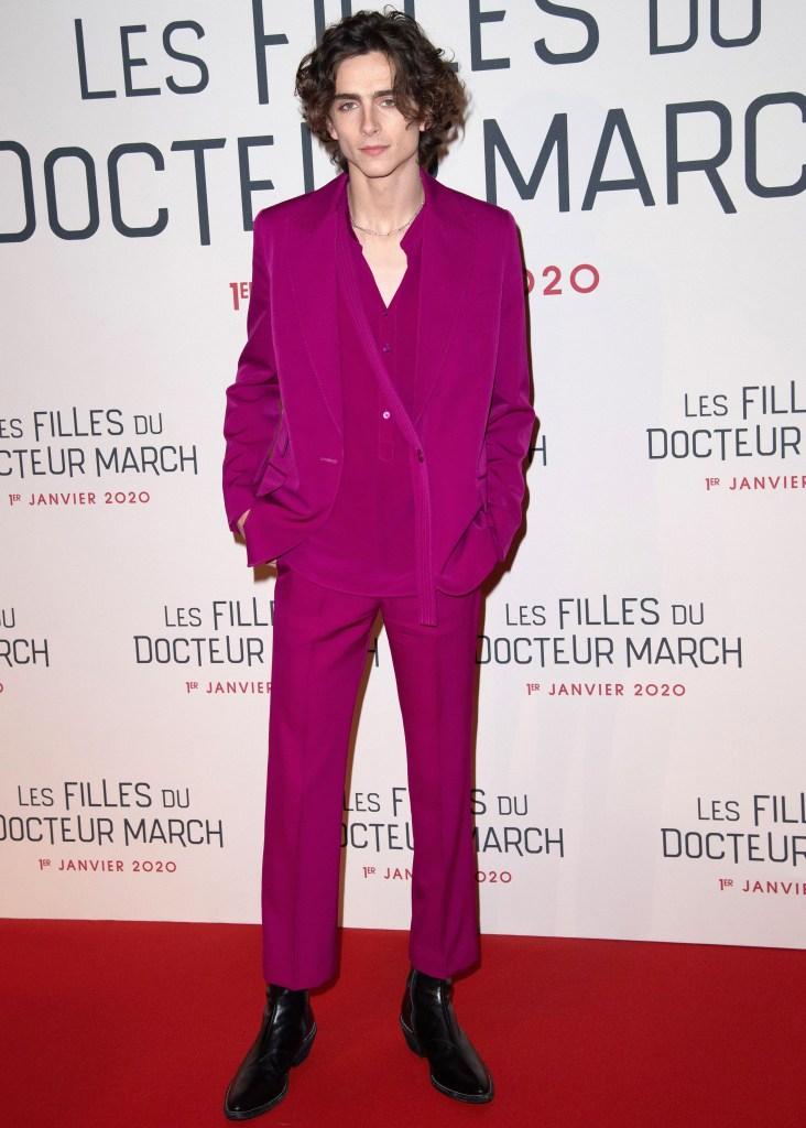 Timothee Chalamet 'Little Women' film premiere, Paris, France - 12 Dec 2019 Wearing Stella McCartney