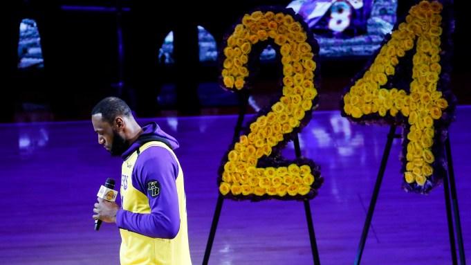 Los Angeles Lakers' LeBron James, wearing