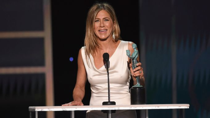 Jennifer Aniston accepts the award for