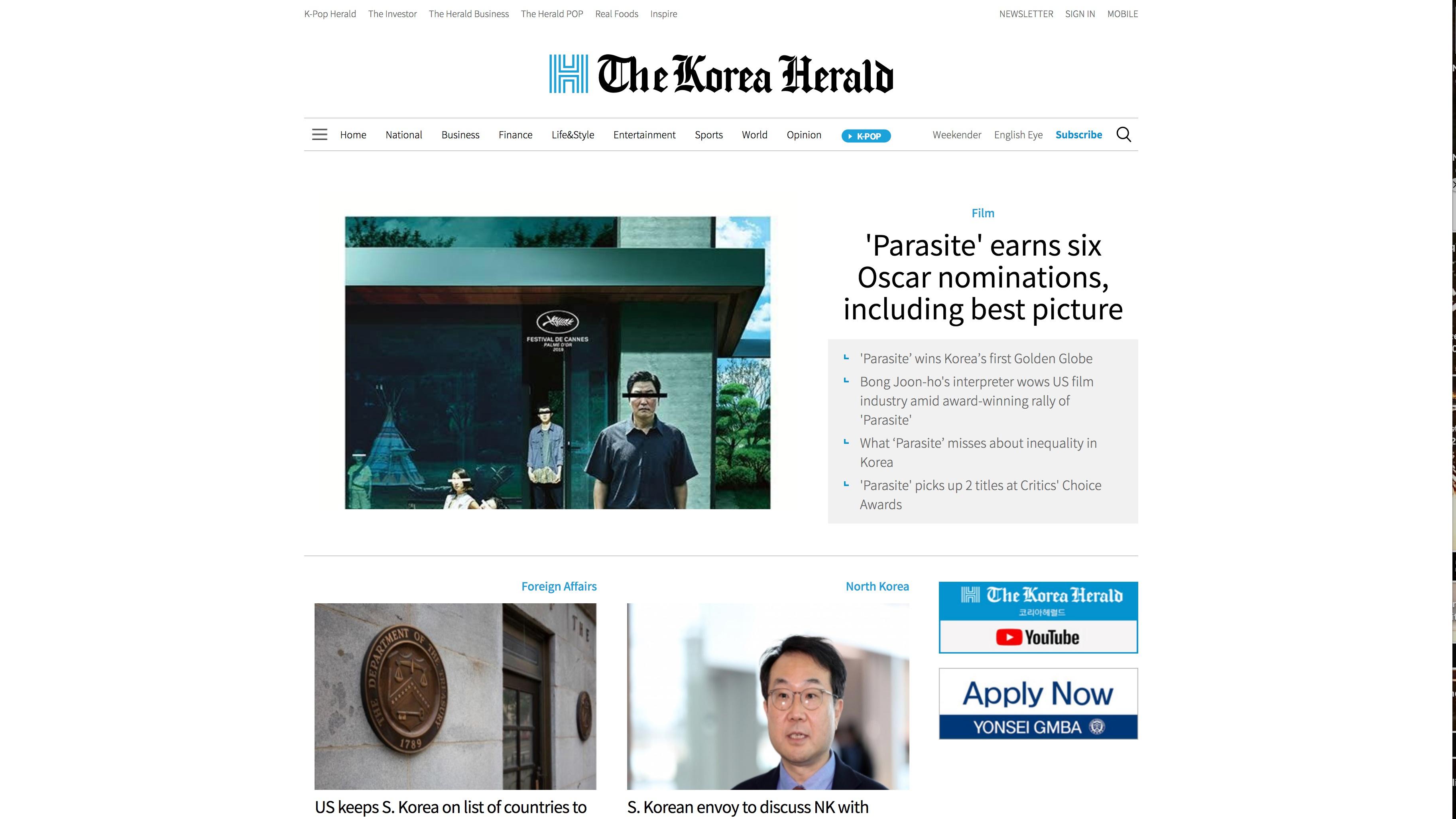 Korea Herald celebrates Parasite
