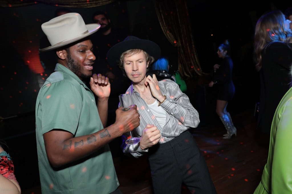 Leon Bridges and Beck dance at the CAA Grammy Party at Sunset Room in Hollywood, CA on Saturday, January 25, 2020.(photo: Alex J. Berliner/ABImages)