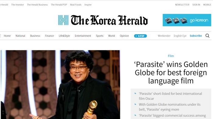 Parasite Bong Joon Ho front page