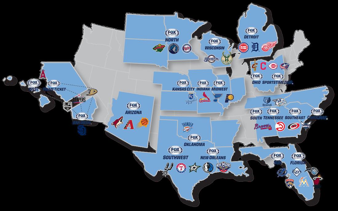 Fox Sports RSN Map
