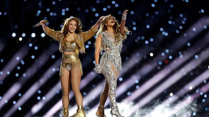 Shakira and Jennifer Lopez perform during