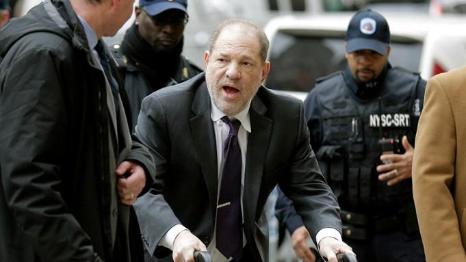 Harvey Weinstein arrives at a Manhattan