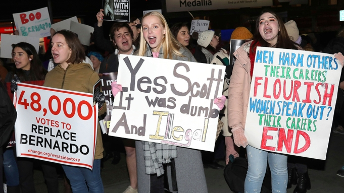 Protesters demonstrate at the Broadway opening