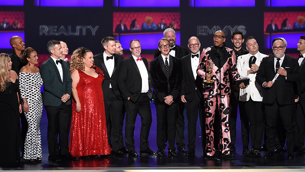"Pamela Post, Tim Palazzola, Randy Barbato, Fenton Bailey, Tom Campbel, RuPaul Charles, Steven Corfe, Mandy Salangsang, Bruce McCoy, Michele Mills, Jacqueline Wilson, Thairin Smothers, John Polly, Michelle Visage, Jen Passovoy, Ross Mathews, Carson Kressley. The team from ""RuPaul's Drag Race"" accepts the award for outstanding competition program at the 71st Primetime Emmy Awards, at the Microsoft Theater in Los Angeles71st Primetime Emmy Awards - Show, Los Angeles, USA - 22 Sep 2019"