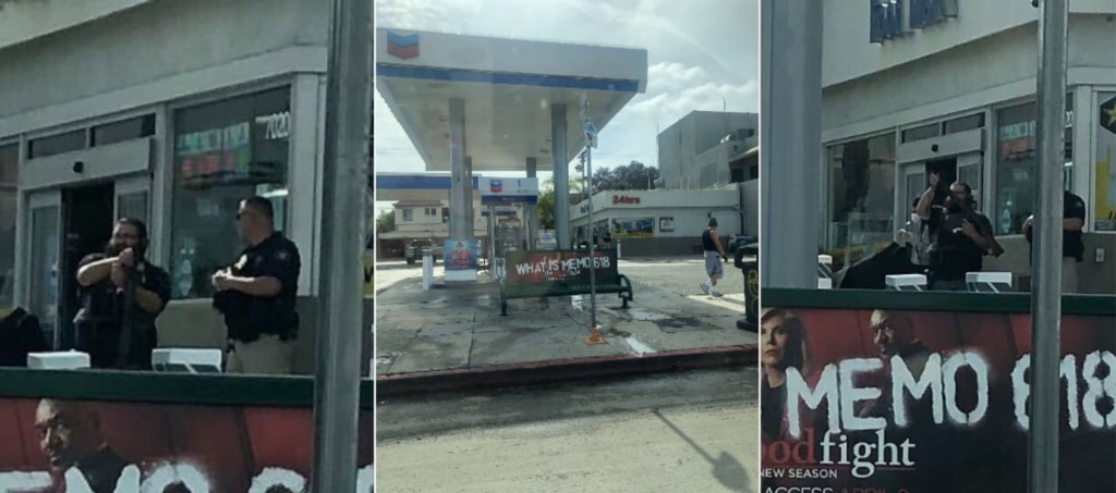 Armed Guard Chevron Station Los Angeles