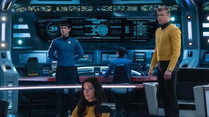 Star Trek Strange New Worlds Anson Mount Ethan Peck Rebecca Romijn