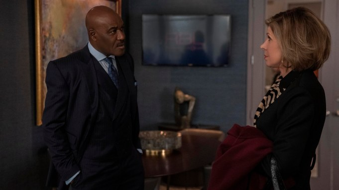 """""""The Gang Gets a Call From HR"""" -- Episode #403 -- Pictured (l-r): Delroy Lindo as Adrian Boseman; Christine Baranski as Diane Lockhart of the CBS All Access series THE GOOD FIGHT. Photo Cr: Patrick Harbron/CBS ©2019 CBS Interactive, Inc. All Rights Reserved."""