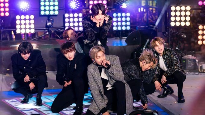 Jin, Sugg, J-Hope, RM, Jimin, V, Jungkook. BTS perform on stage at the Times Square New Year's Eve celebration, in New York2020 New Year's Eve Times Square Performances, New York, USA - 30 Dec 2019