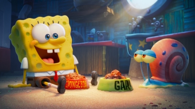 SpongeBob (voiced by Tom Kenny) and Gary in THE SPONGEBOB MOVIE: SPONGE ON THE RUN from Paramount Animation and Nickelodeon Movies. Photo Credit: Paramount Animation.