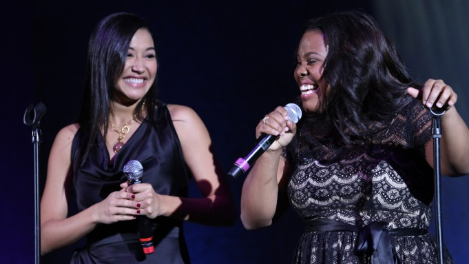 Naya Rivera and Amber Riley perform