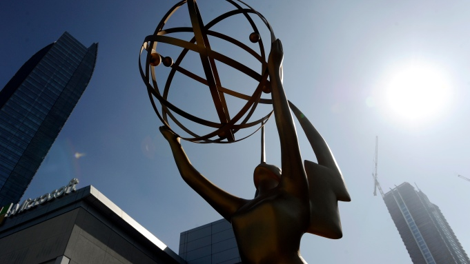 An Emmy statue stands outside the