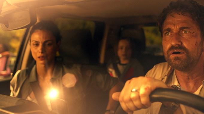 (L-R) Morena Baccarin, Roger Dale Floyd and Gerard Butler star in GREENLANDImage Courtesy of STXfilms