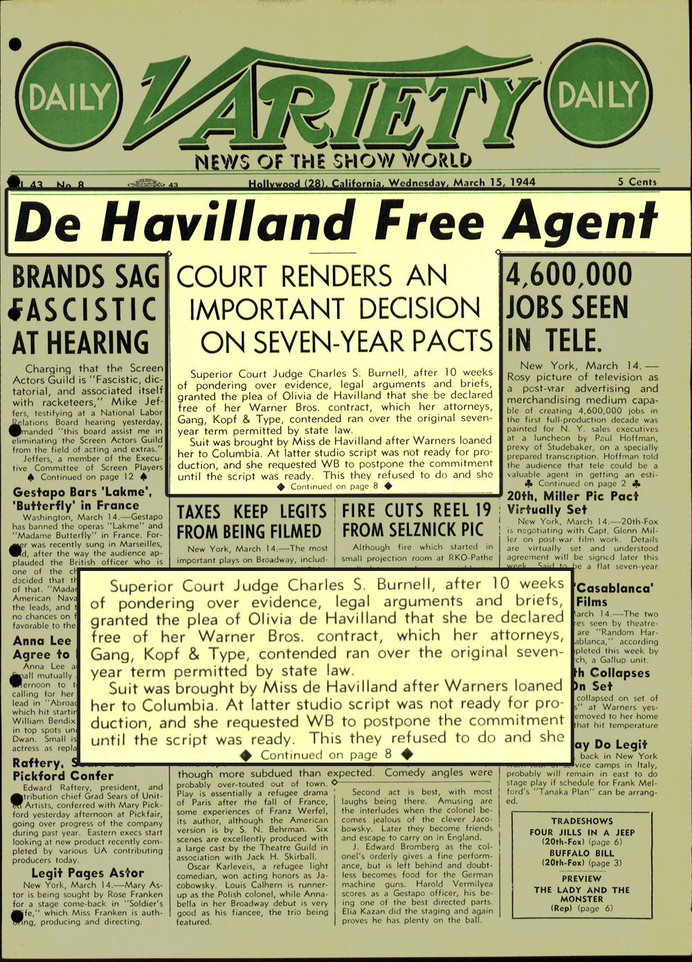 Olivia de Havilland Variety 1944
