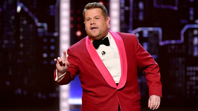 Host James Corden speaks at the
