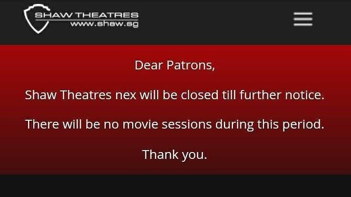 Shaw Theatres closure notice