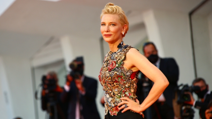 Cate Blanchett poses for photographers upon arrival at the premiere of the film 'Amants (Lovers)' during the 77th edition of the Venice Film Festival in Venice, Italy, Thursday, Sept. 3, 2020. (Photo by Joel C Ryan/Invision/AP)