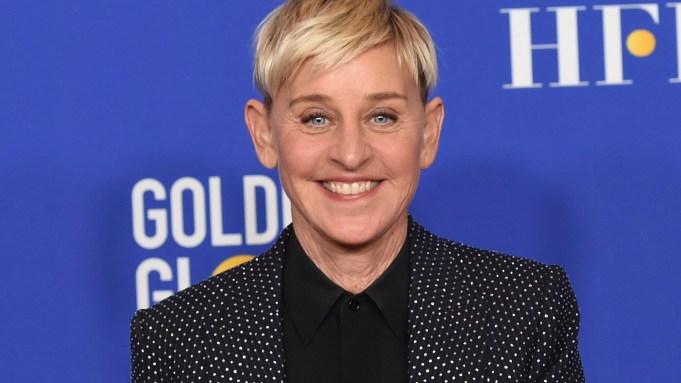 FILE - Ellen DeGeneres poses in