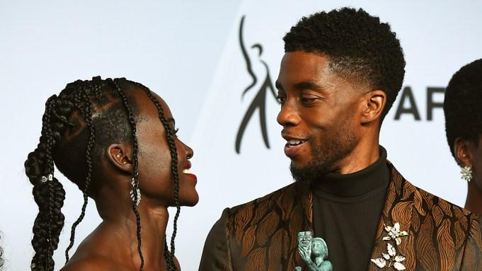 Lupita Nyong'o, left, and Chadwick Boseman
