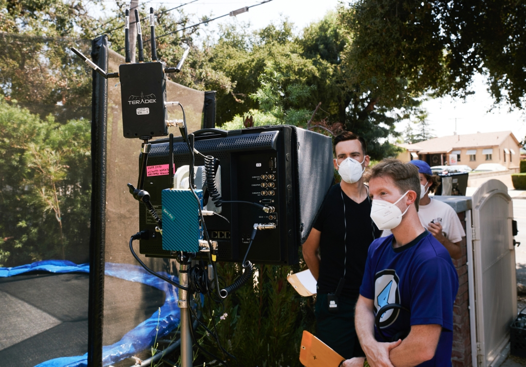 Covid-19 precautions and standards are practiced on the movie set for 'The Knocking' in Highland Park, California on September 2, 2020.